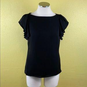 Ann Taylor petite black flutter sleeve blouse
